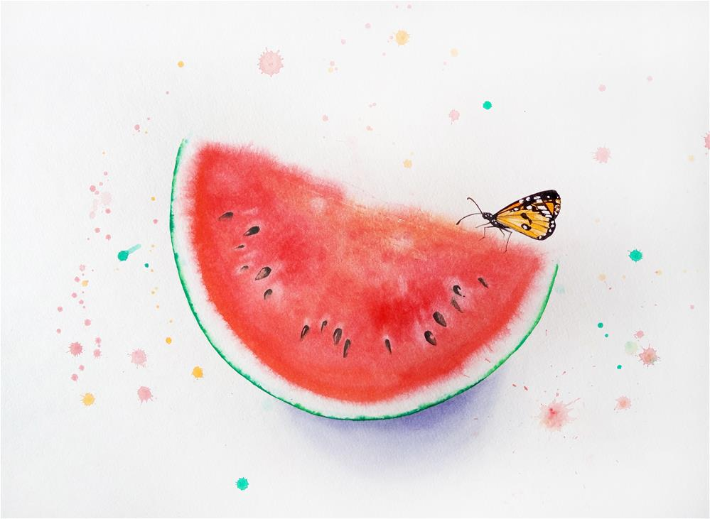 """Butterfly On Slice Of Watermelon"" original fine art by Olga Beliaeva"