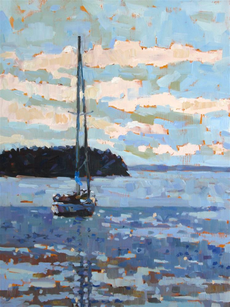 """Stonington Cove 12x16 oil on 2cradled harbored. Loved working the color and the brushwork in this painting. I'm really pleased with the outcome."" original fine art by Mary Sheehan Winn"