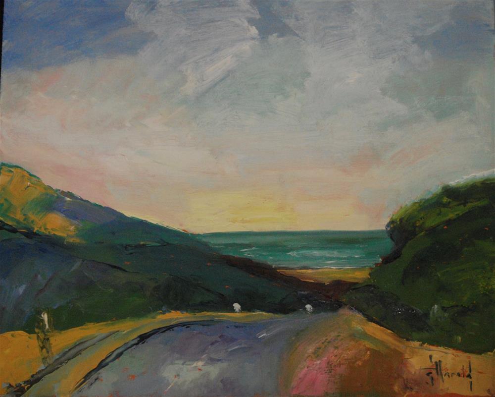 """California Gold, Coast Highway"" original fine art by Deborah Harold"