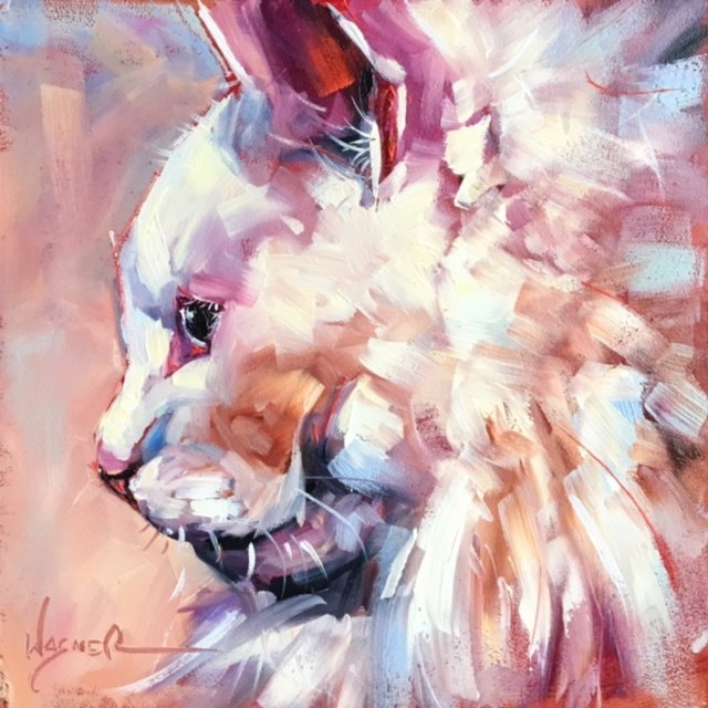 """ORIGINAL CONTEMPORARY WHITE CAT on Panel in OILS by OLGA WAGNER"" original fine art by Olga Wagner"
