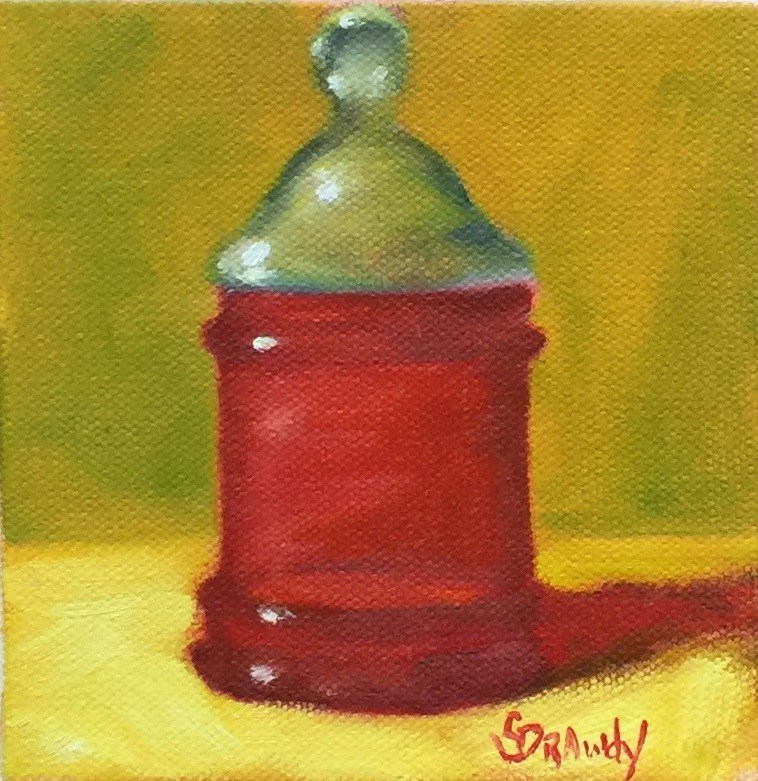 """Royal Ruby Apothecary Jar"" original fine art by Stephanie Drawdy"