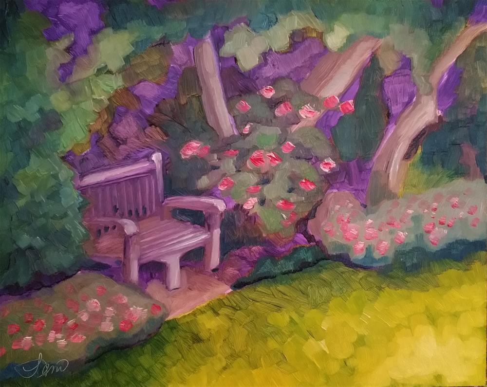 """The Bench"" original fine art by Leni Tarleton"