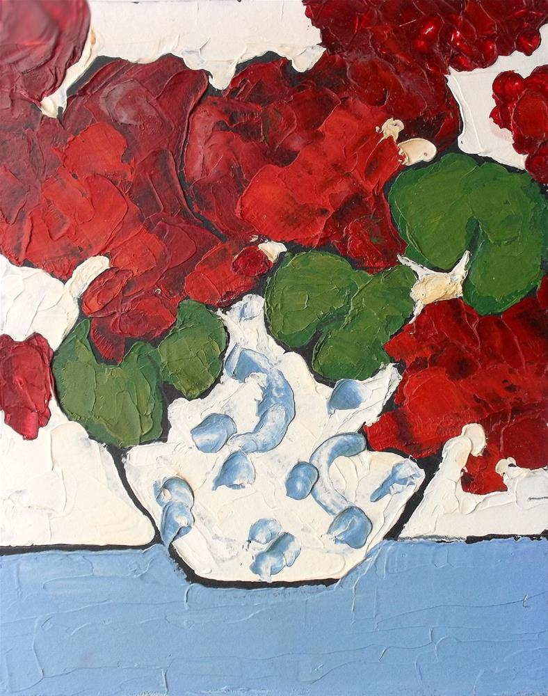 """""""Ruby Red Geraniums"""" original fine art by lynne french"""