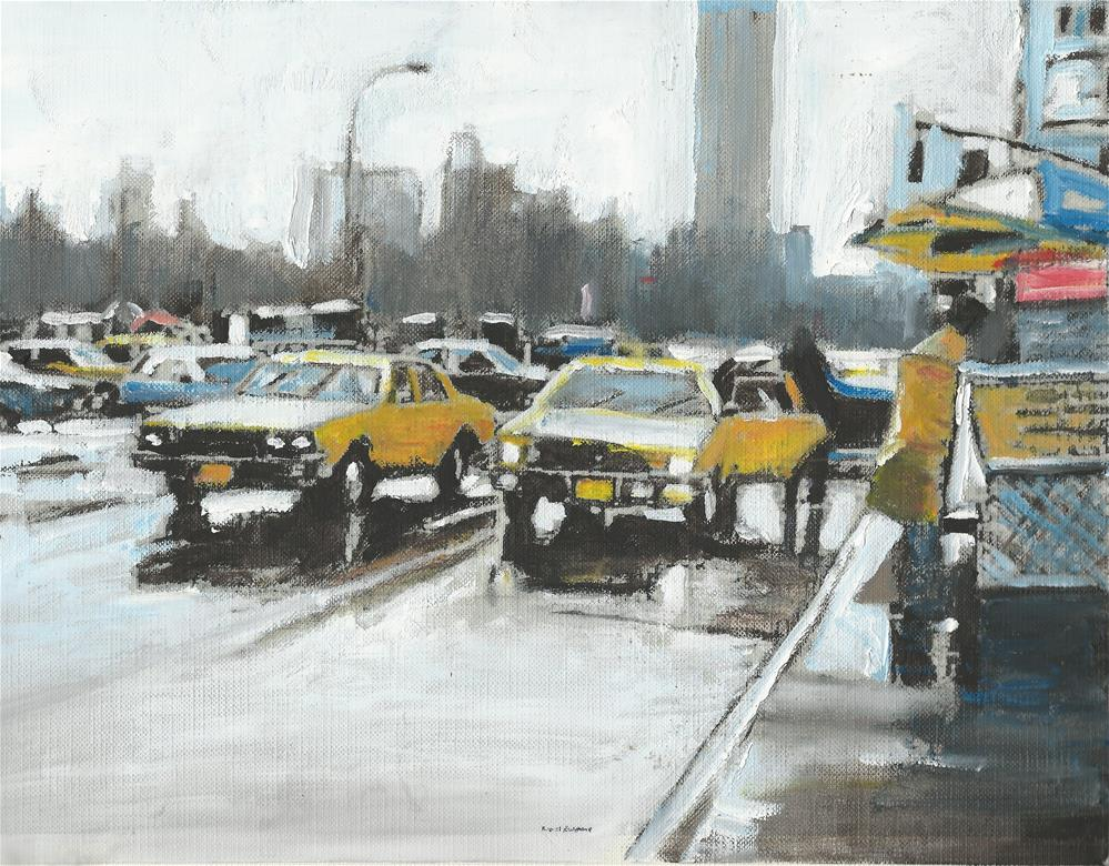 """57th Street and Madison (9 x 12 Oil on canvas sheet - no frame)"" original fine art by Ramon DelRosario"