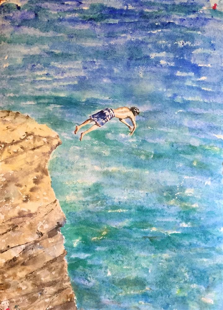 """Off the cliff"" original fine art by Natasha Ramras"