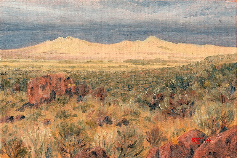 """C1591 Last Sun-break over the Rabbit Hills before the Approaching Storm  (Warner Valley, Oregon High Desert)"" original fine art by Steven Thor Johanneson"