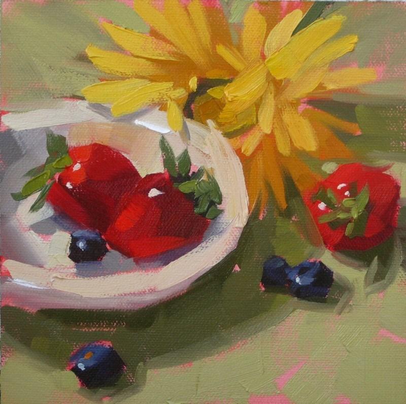 """""""Workshop Flower & Fruit"""" original fine art by Karen Werner"""