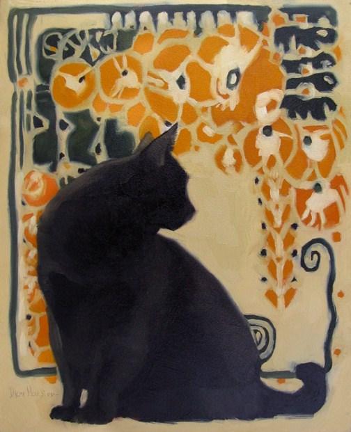 Cat Nouveau II black cat art nouveau painting original fine art by Diane Hoeptner