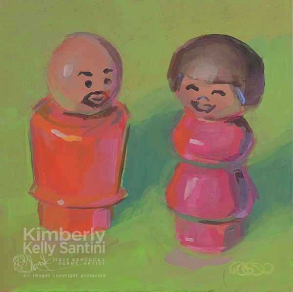 """Gordon and Susan, Toy #21 of 100 Toys by Kimberly Kelly Santini"" original fine art by Kimberly Santini"