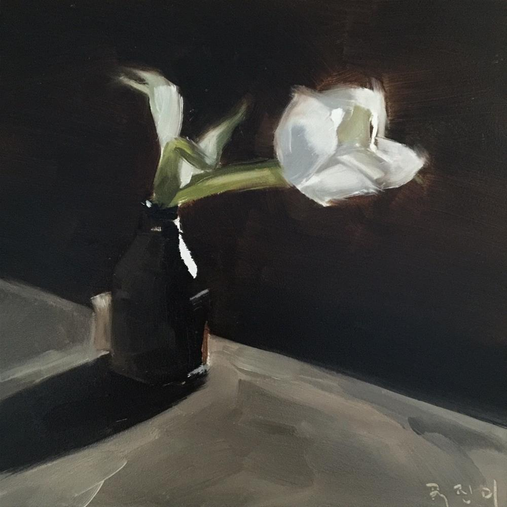"""346 Tulip in a Bottle"" original fine art by Jenny Doh"