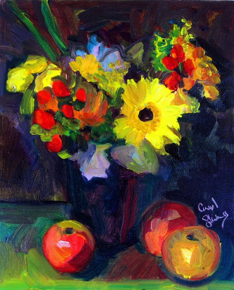 """Petite Bouquet in Black Vase with Apples"" original fine art by Carol Steinberg"