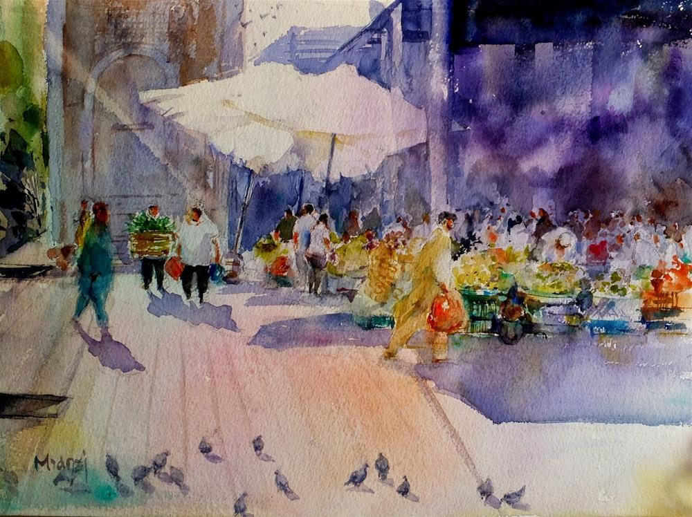 """Al Ain vegetable souq"" original fine art by Midori Yoshino"