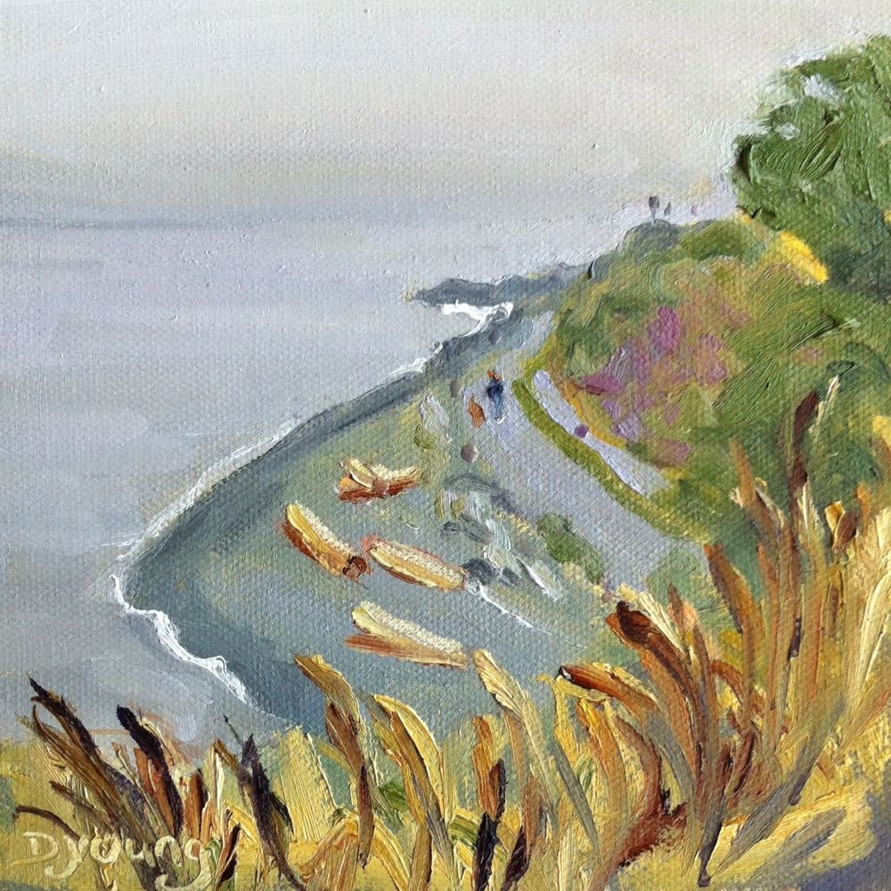 """Fonyo Beach Rain, oil on canvas board, 6x6"" original fine art by Darlene Young"
