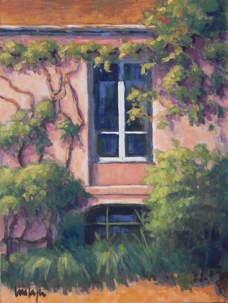 """Pink House in France"" original fine art by Lisa Kyle"