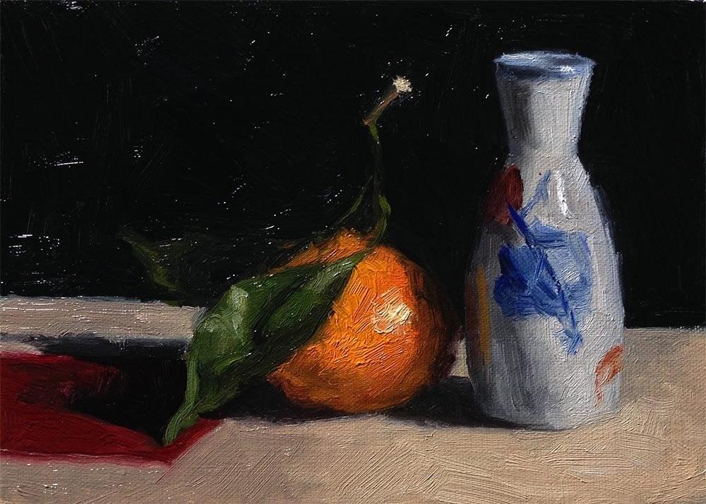"""Satsuma and Vase"" original fine art by Chris Beaven"