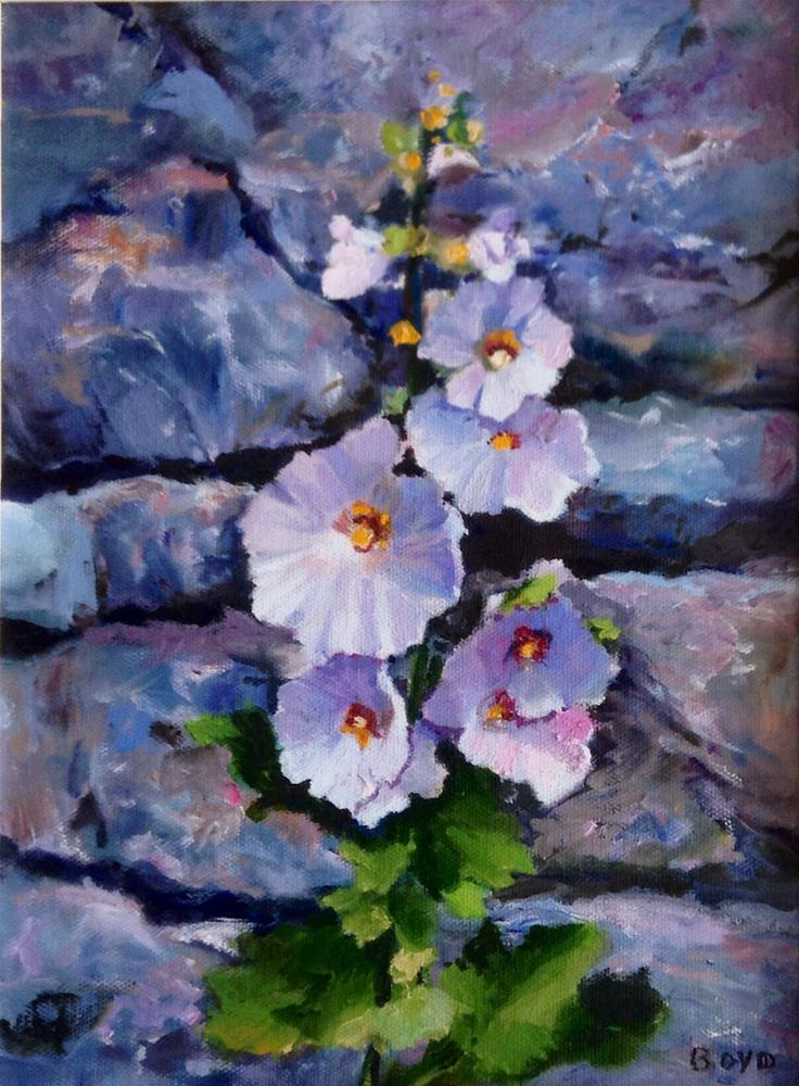 """Hollyhocks, Stone Wall"" original fine art by Cathy Boyd"