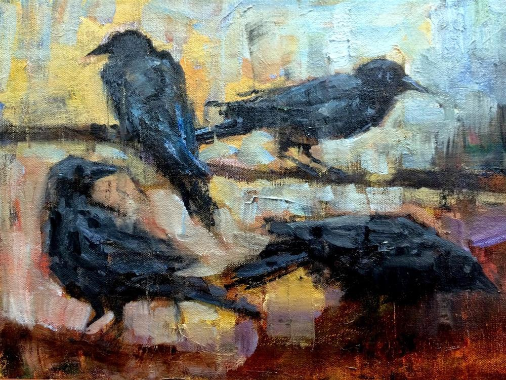 """Studying The Crows"" original fine art by Julie Ford Oliver"