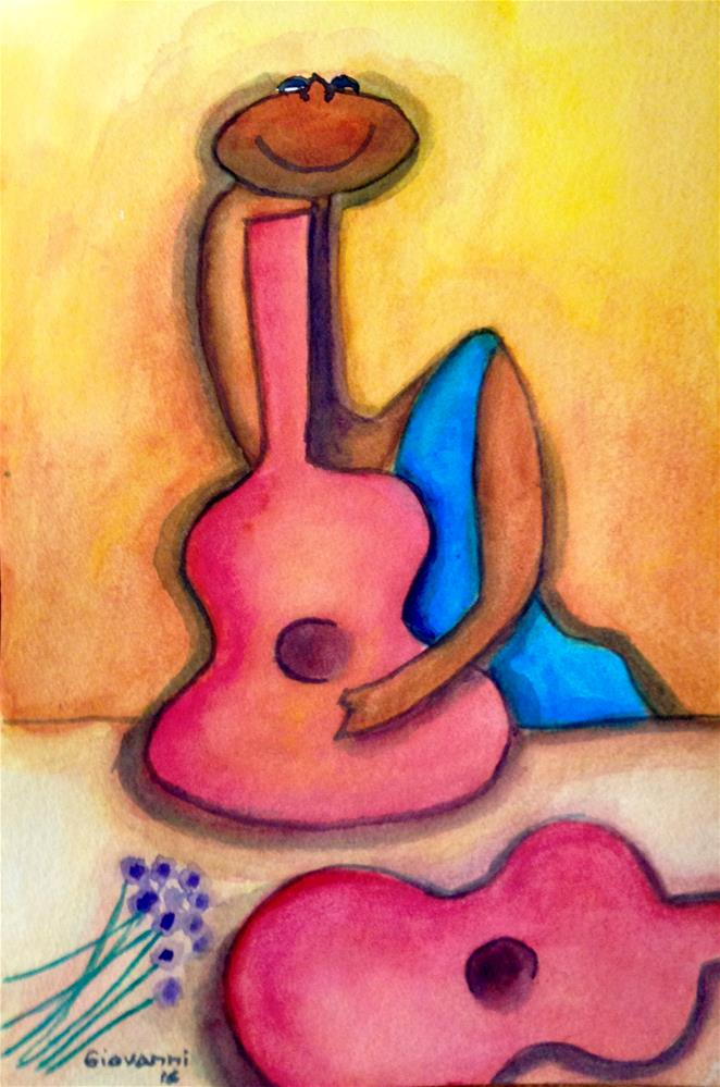 """Pink guitars"" original fine art by Giovanni Antunez"