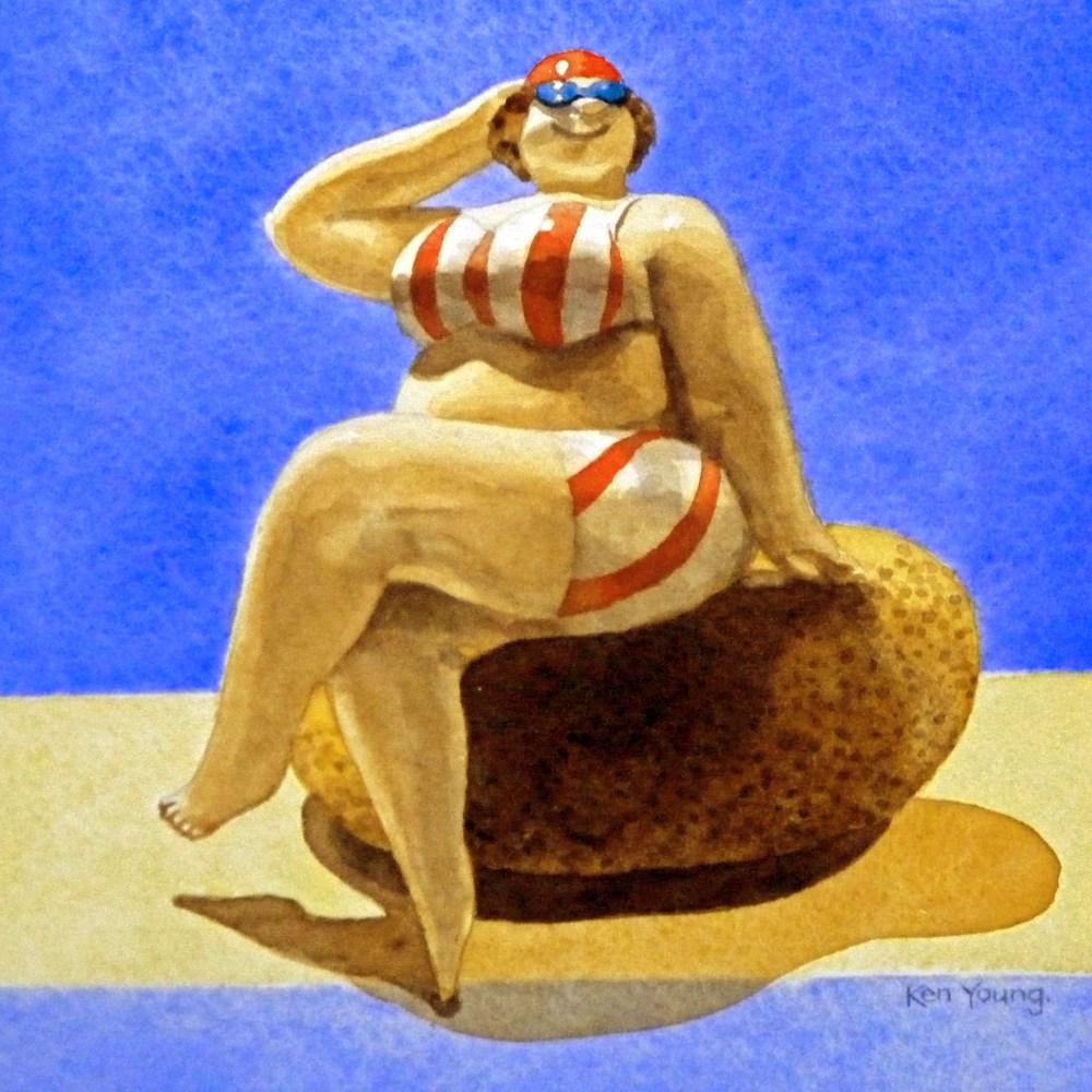 """Bathing Belle"" original fine art by Ken Young"