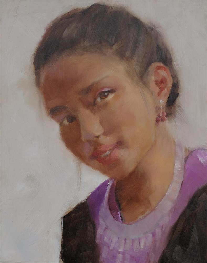 """""""Girl from the Hmong Festival"""" original fine art by Nancy  Spinadel"""