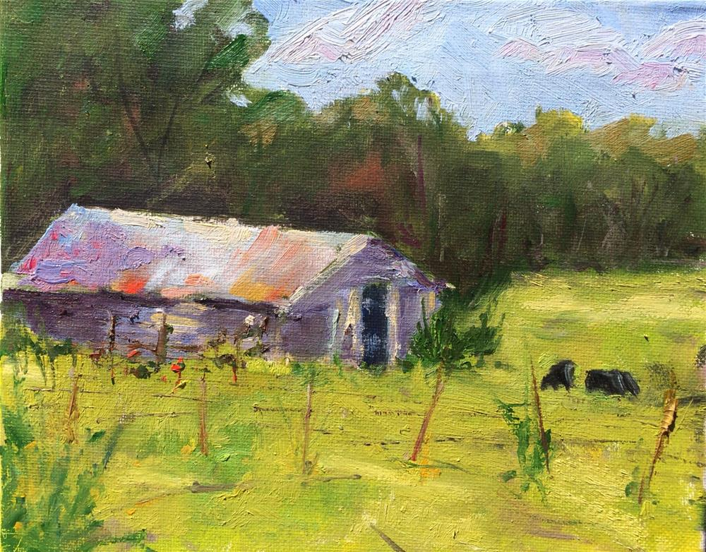 """Small Town Pasture"" original fine art by Debbie Dowdle"