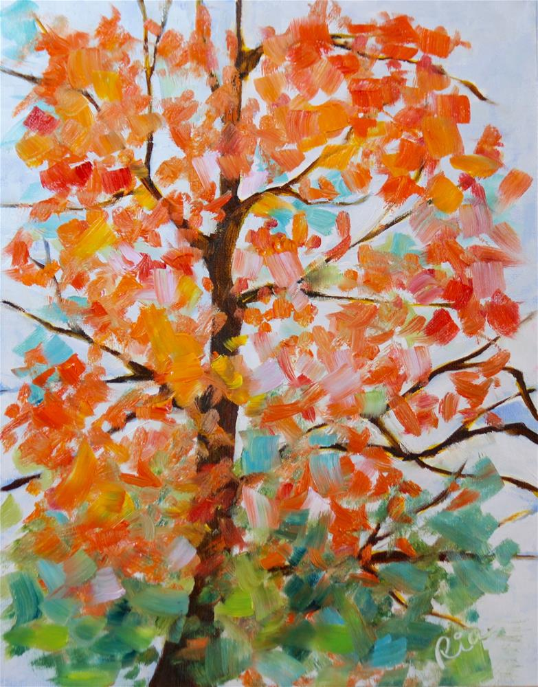 """Autumn From My Window"" original fine art by Maria Reed"