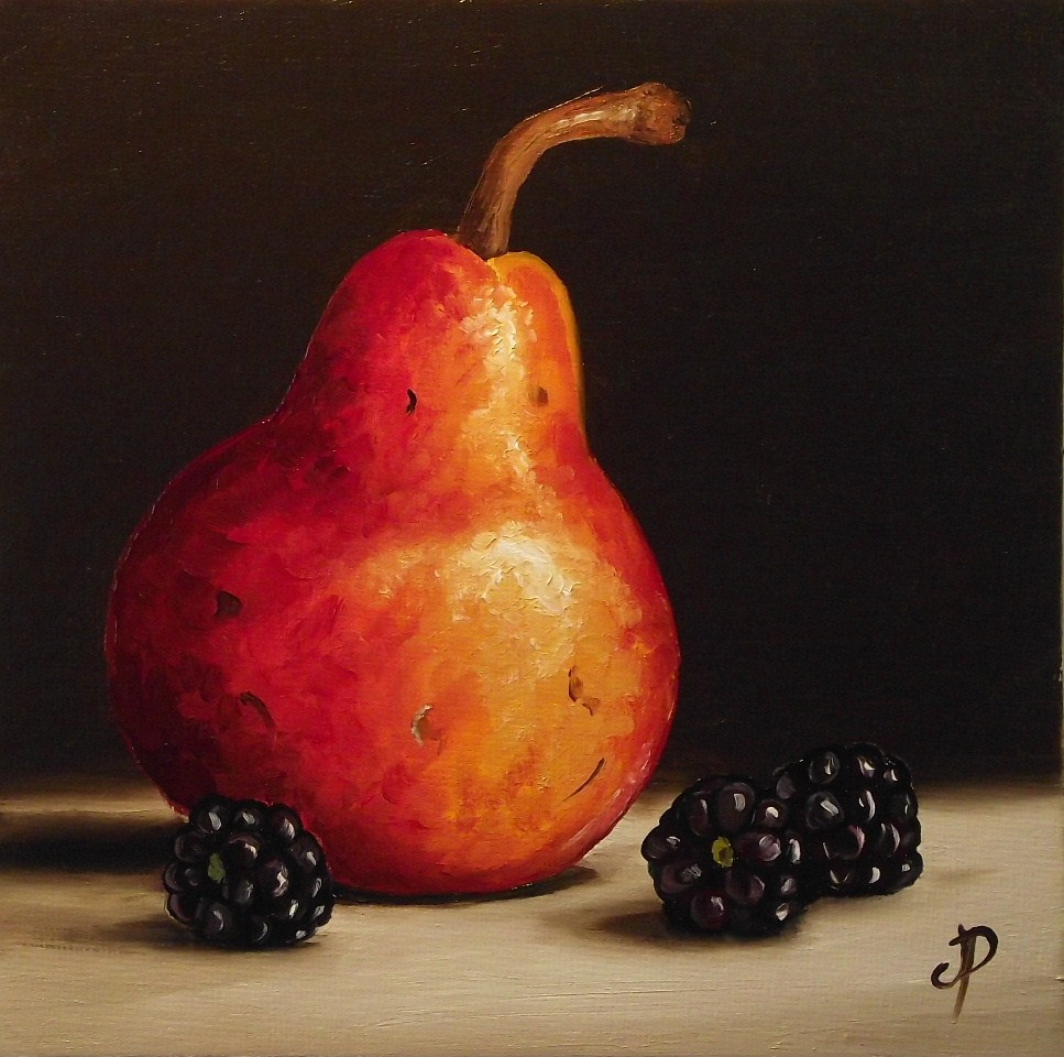 """Red Williams with Blackberries"" original fine art by Jane Palmer"