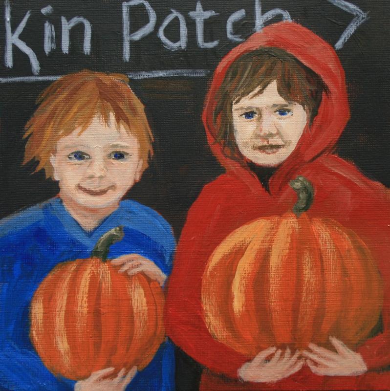 """Their Pumpkin Patch Finds"" original fine art by Jean Nelson"