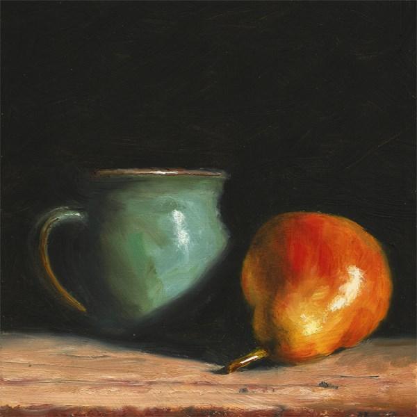 """Pear with ceramic jug"" original fine art by Peter J Sandford"
