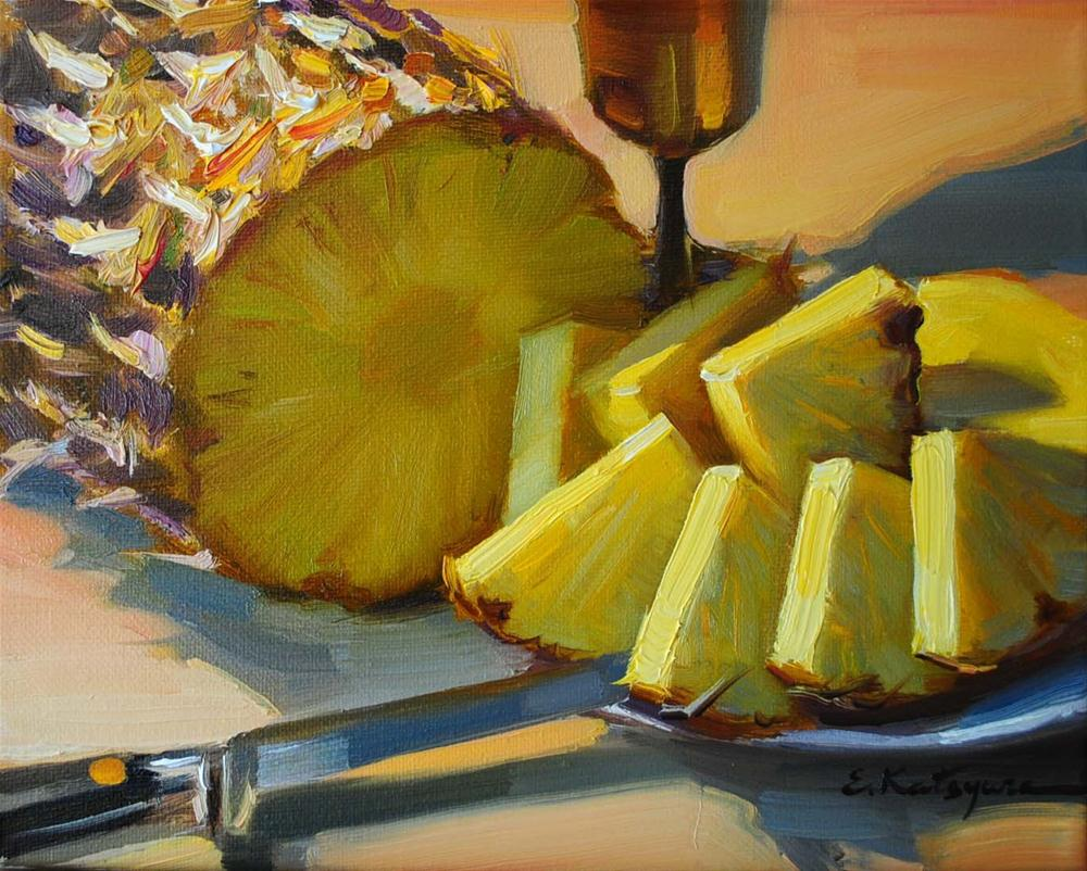 """Still life with Pineapple"" original fine art by Elena Katsyura"