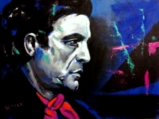 """Johnny Cash: The Man In Black"" original fine art by Stuart Glazer"