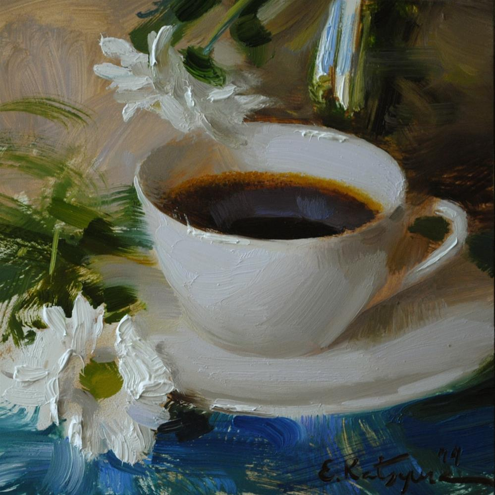 """Coffee and Camomile"" original fine art by Elena Katsyura"