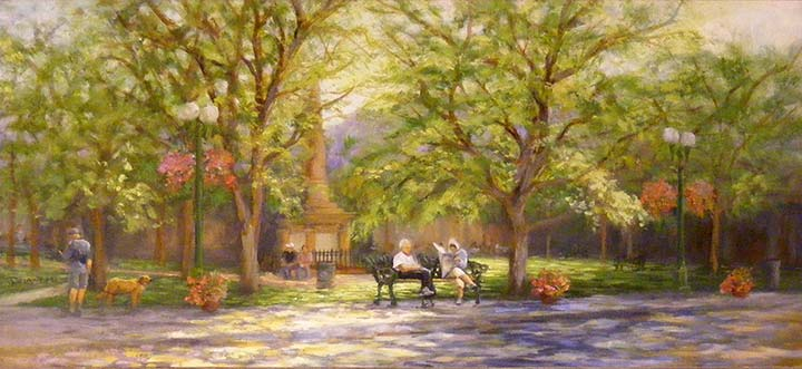 """Day at the Plaza,Landscape"" original fine art by Diana Delander"