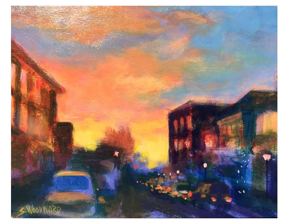 """City Street Sunset"" original fine art by Suzanne Woodward"