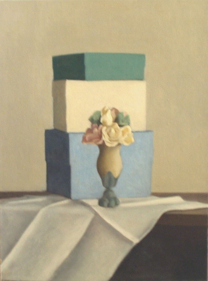 """One Vase and Three Boxes"" original fine art by Megan Schembre"