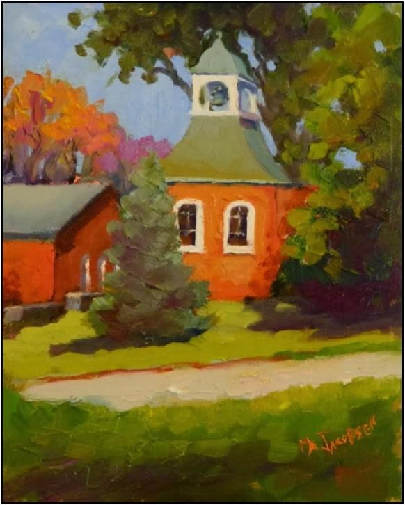 """""""Bell Tower, Westtown School, 8x10, plein air, fall paintings, Westtown School, brick buildings bel"""" original fine art by Maryanne Jacobsen"""