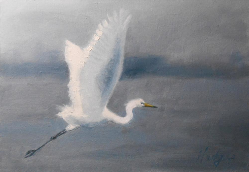 """Egret In Blue"" original fine art by Bruce Hedges"