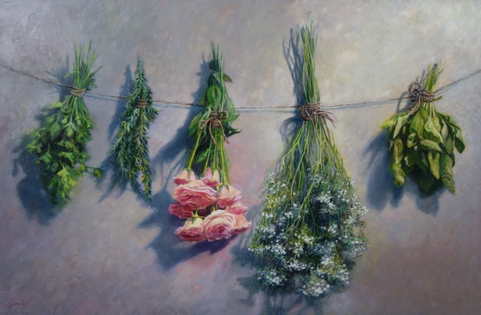 """Herbs and Roses"" original fine art by Susan N Jarvis"