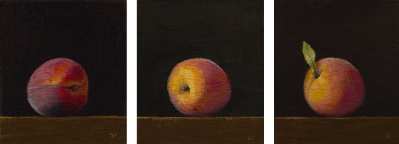"""Summer Peach - series of three paintings"" original fine art by Abbey Ryan"