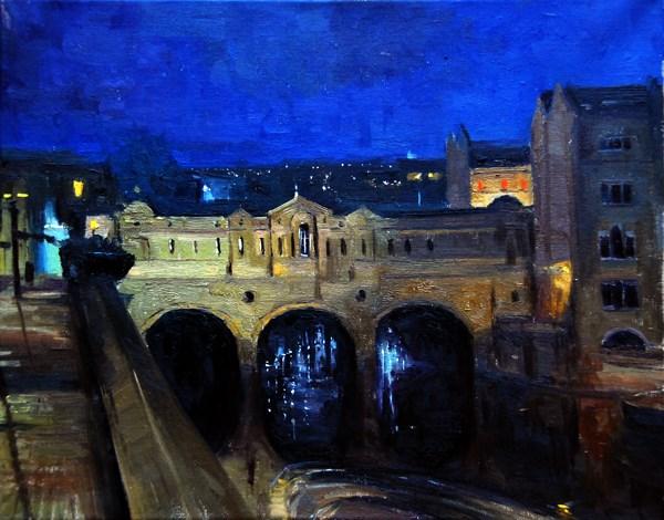 """Silent Night, Pulteney Bridge Bath"" original fine art by Adebanji Alade"