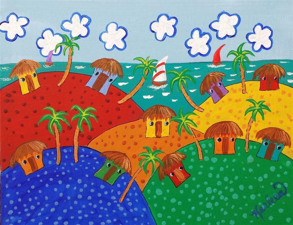 """Island Beach Huts"" original fine art by Karleen Kareem"