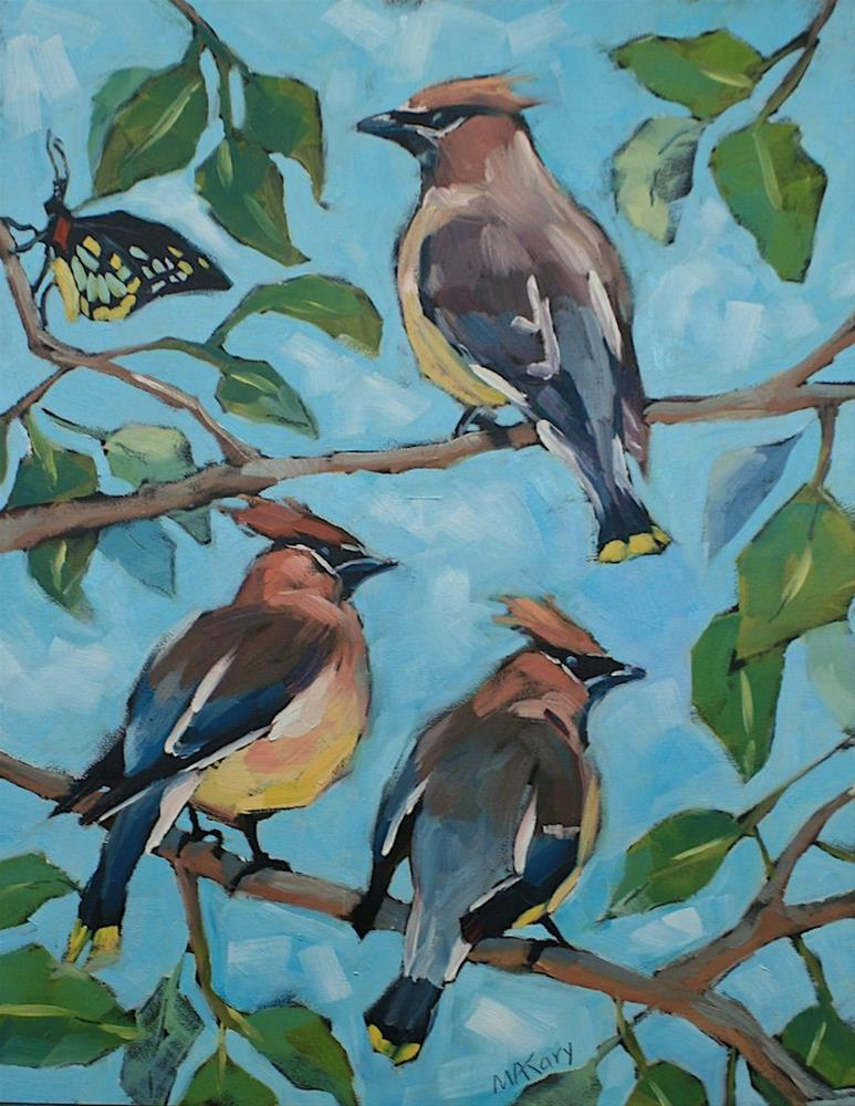 """Waxwings and Guest"" original fine art by Mary Anne Cary"