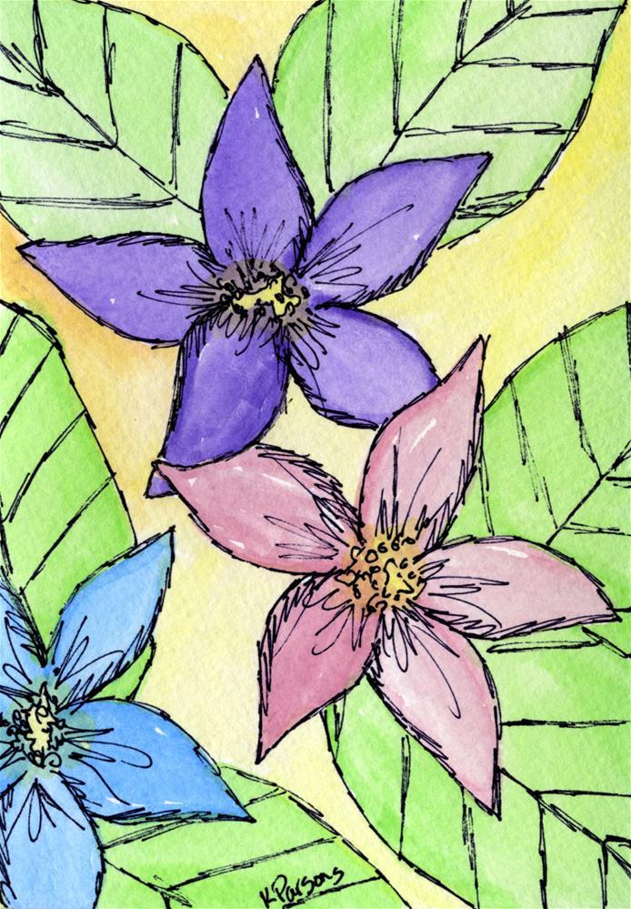 """Trio on Yellow"" original fine art by Kali Parsons"