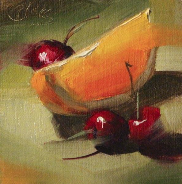 """Cherries and an Orange Slice"" original fine art by Pamela Blaies"