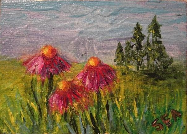 """2058 - Cone Meadow - ACEO Series"" original fine art by Sea Dean"