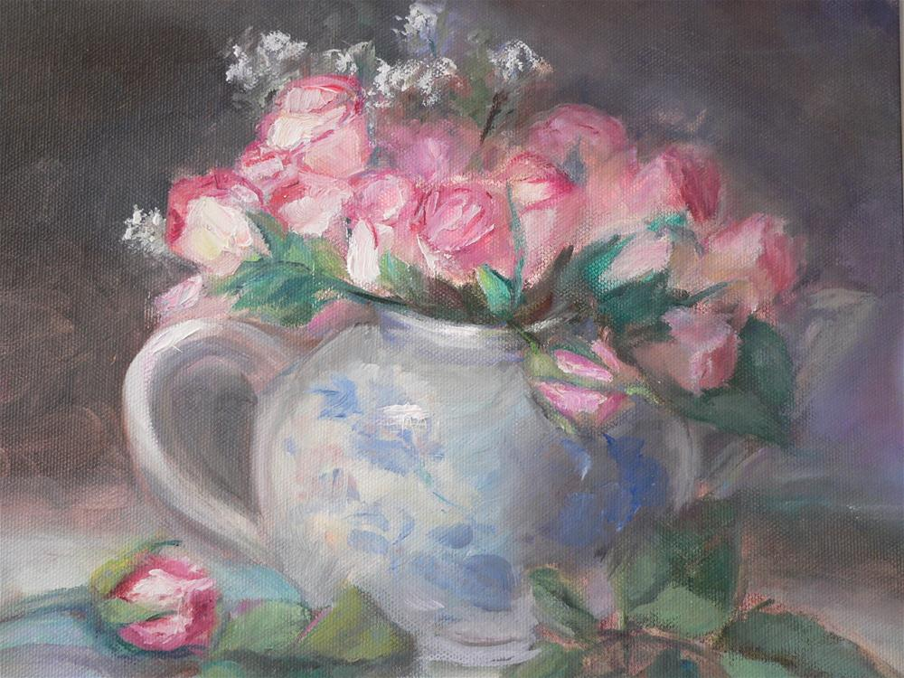 """Tea roses in teapot"" original fine art by Carol Josefiak"