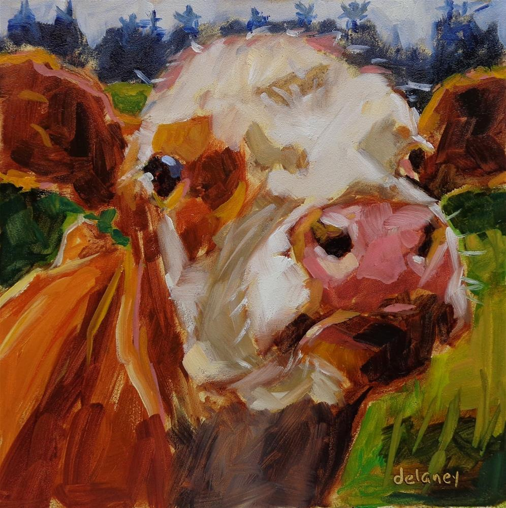 """Cow 130 GREETINGS HUMAN"" original fine art by Jean Delaney"