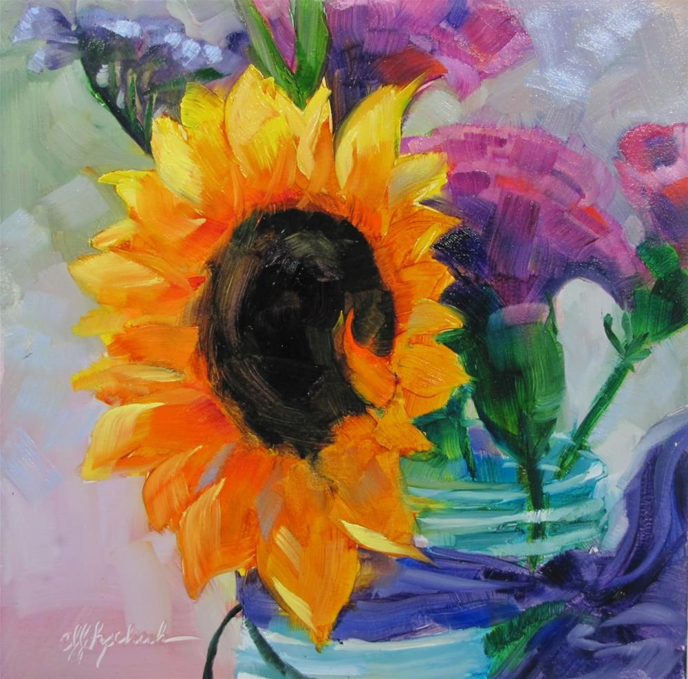 """Sunflower in Blue Jar"" original fine art by Christine Holzschuh"