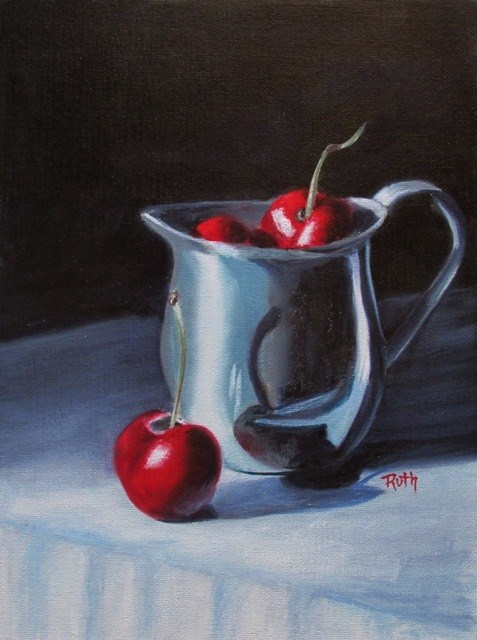 """Cherries in Silver"" original fine art by Ruth Stewart"