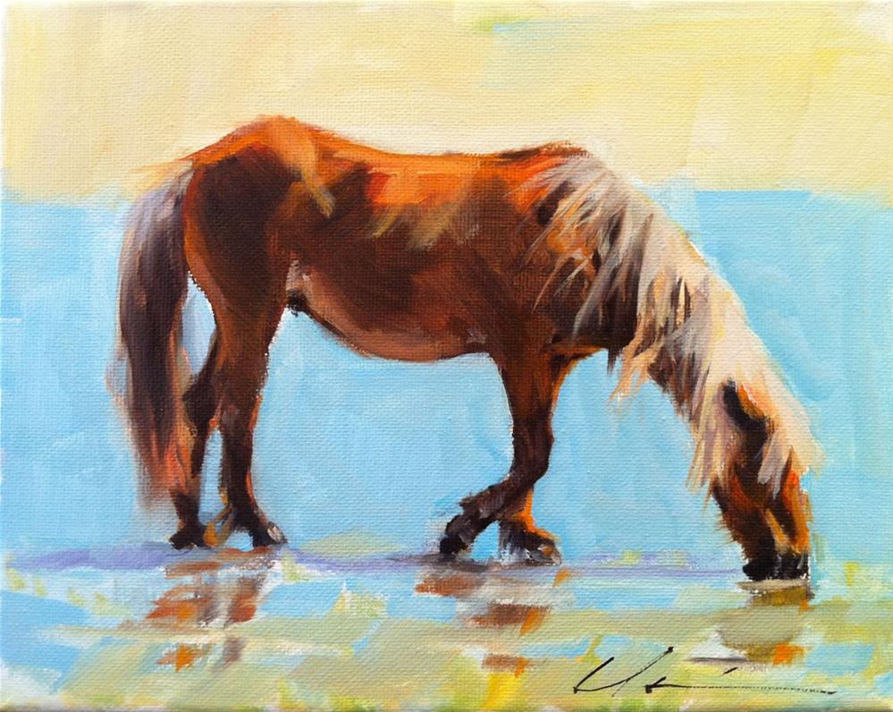 """Shackleford Island Horse"" original fine art by Clair Hartmann"